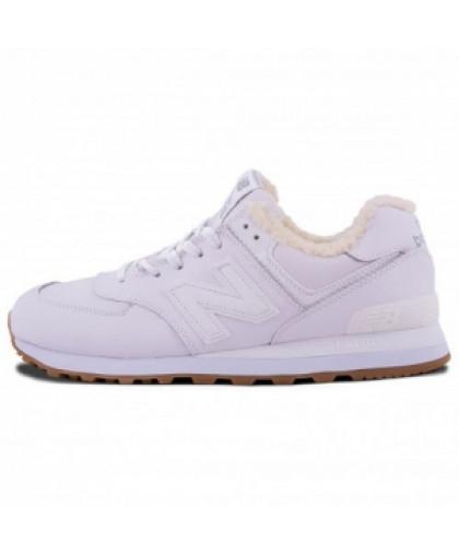 Зимние New Balance 574 All White With Fur