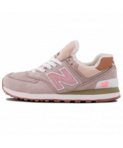 Зимние New Balance 574 Beige/Pink With Fur