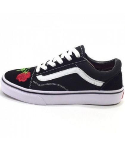 Женские Vans Low Old Skool Black/Red Flowers