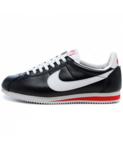 Мужские Nike Cortez New Collection All Black/White/Red Leather